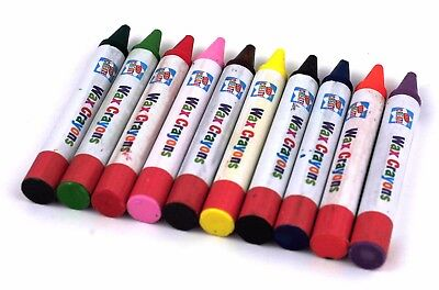10 X Jumbo Non-Toxic Wax Crayons Bright Assorted Colours Kids Colouring
