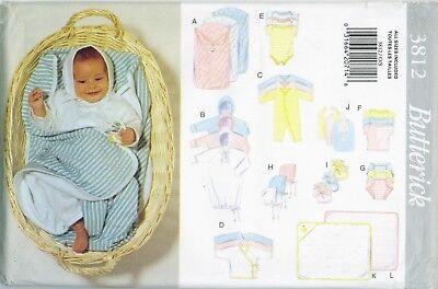 (Butterick 3812 Infant Baby Layette Bunting Kimono Towel Sewing Pattern UNCUT)