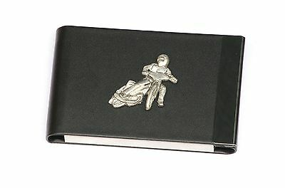 Speedway Design Black Pu And Metal Business Or Credit Card Holder Gift 340