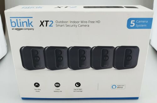 Blink XT2 Outdoor/Indoor Wire Free HD Security 5 Camera System In Box Good Shape