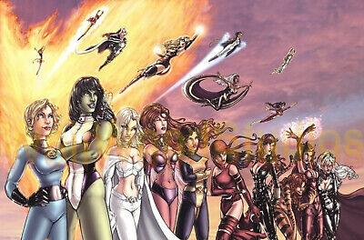 ALL WOMEN FEMALE SUPER HEROES HEROINES TOGETHER ANIMATED PUBLICITY PHOTO  - Women Super Heroes