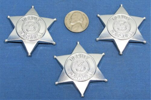 Toy Deputy Badges ~ Western ~ Heavy Duty Die Cast 6 Point Star ~ Set of 3 Silver