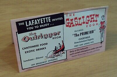 VTG 1950's 'LAFAYETTE Hotel Advertising TENT Table Card'~Long Beach CALIFORNIA~