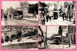 Postcard size Tram Photos - Chatham - 4 Street Scenes early 1900s - Car 16 etc