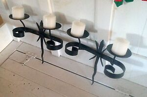 Set of 2 cast iron double candle holders