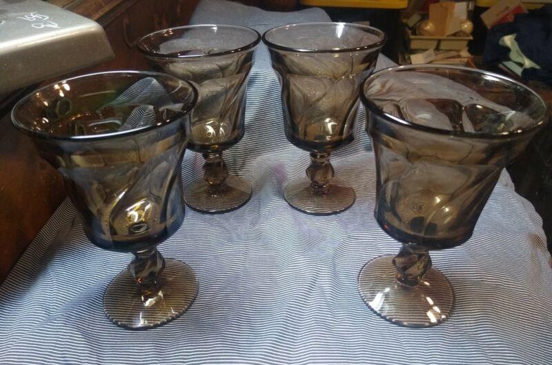 4 Fostoria Jamestown Brown Water Goblets