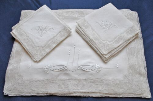 Victorian French Mechlin Bobbin Lace Placemat Set - Set of 12 - 9 Napkins