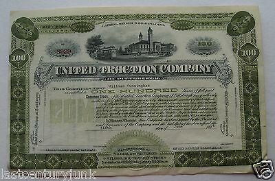 Stock Certificate For United Traction Co Of Pittsburg 1894
