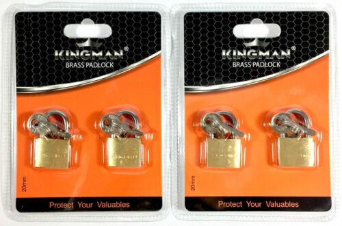 4 Small Metal Padlock Brass Travel Locks Keyed Suitcase Luggage Jewelry 20mm