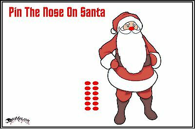 Kids Christmas Party Games (Pin The Nose On Santa Christmas Party Game Childs Party)