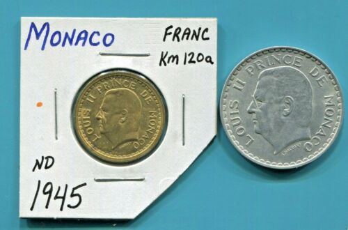 MONACO- TWO FANTASTIC HISTORICAL LOUIS II 1945 (a) COINS, 1 & 5 FRANCS