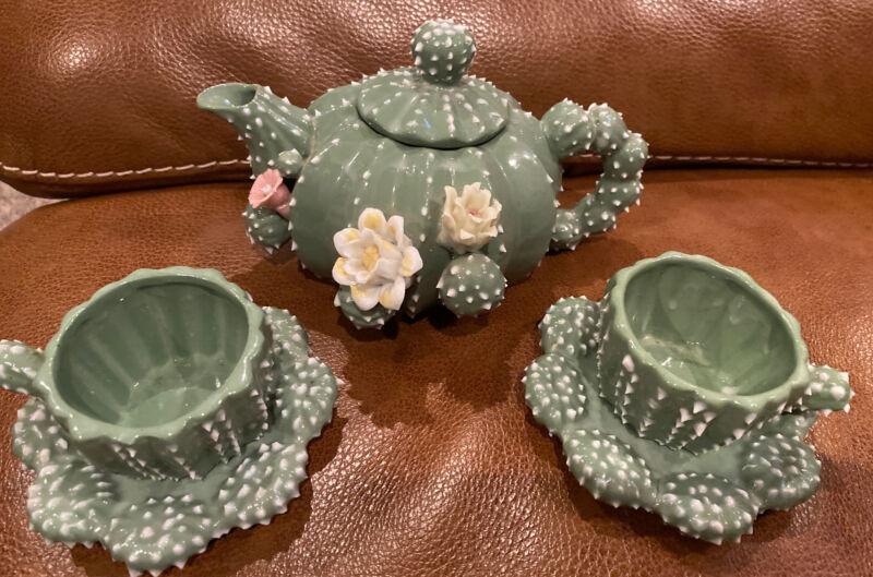 Barrel Prickly Cactus Tea Set Teapot 2 Cups & Plates Vintage Hard To Find