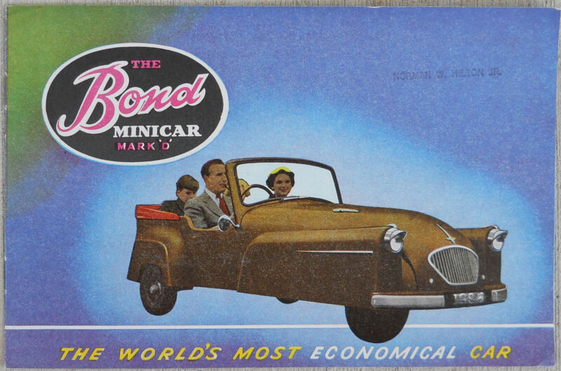 "Bond Minicar Mk ""D""  Brochure - Sterling Moss - great condition see all photos"