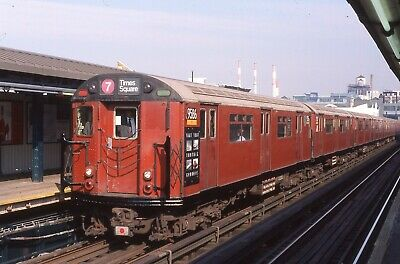 NYCTA 2003 slide. Flushing line. Final run of the R36 REDBIRD subway cars.