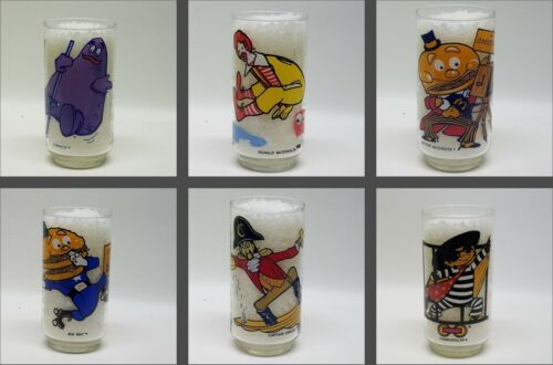 Vintage, Set of 6, McDONALD ACTION SERIES GLASSES, 1977