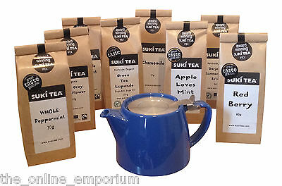 BLUE FOR LIFE 2 CUP  LOOSE LEAF TEAPOT & PACK OF SUKI TEA -