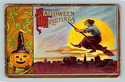 HALLOWEEN Vintage BAMBERGER Postcard Witch Broom JOL Moon Manito Illinois c1911