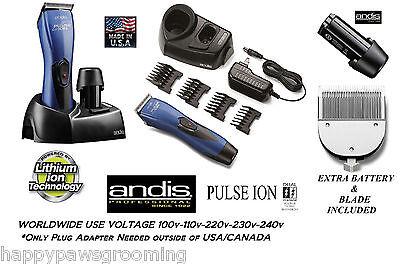 ANDIS Pulse Li ion sin cables Esquiladora/RECORTADORA set-2 HOJA, 4 Guía PEINE ,
