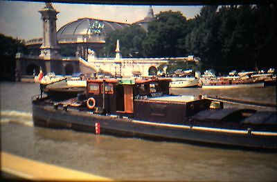 KODACHROME 35mm Slide Paris France Boats On The Seine River 1969 L@@K WOW!!!