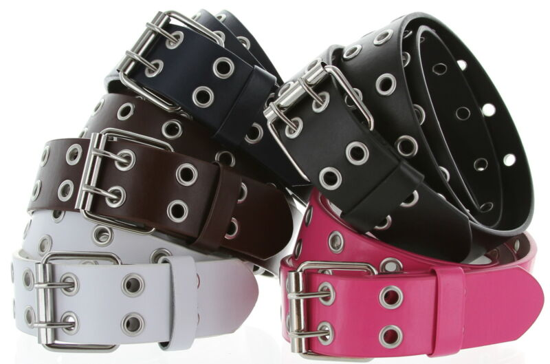 3039 Solid Rich Fashion Color Double Prong Genuine Leather Casual Jean Belt 35mm