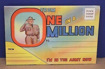 I'm In The Army Now - WW2 Fold Out US Army G.I. Humorous Postcard NOS 1942 Mint