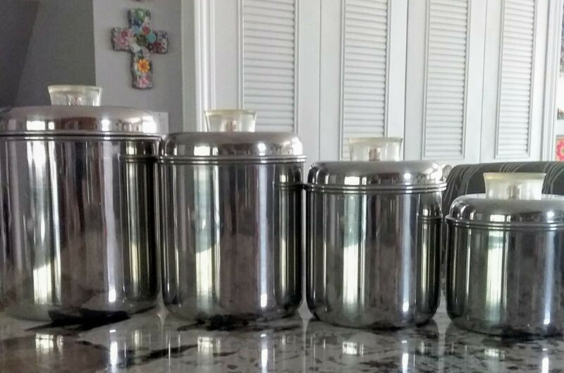 Revere Ware Stainless Steel Kitchen Canisters Lucite Tell-U-Top Knobs Set of 4