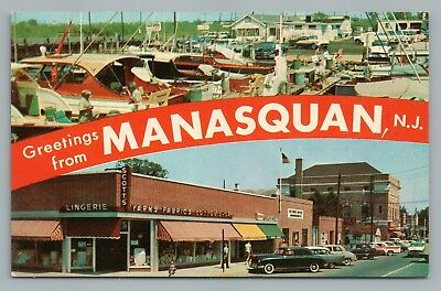 Greetings from MANASQUAN New Jersey Shore Multiview—Main Street Boats BRICK TOWN