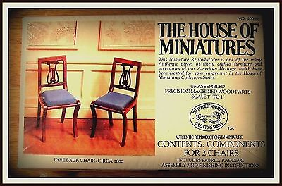 DOLLHOUSE HOUSE OF MINIATURES 2 LYRE-BACK CHAIRS KIT, ANTIQUE REPLICAS