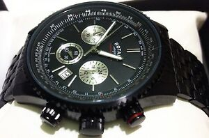 NEW Rotary Men's Black Chronograph Bracelet Watch GB03778/04