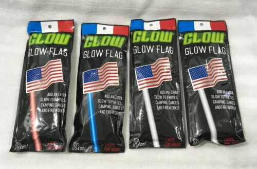 """LOT OF 4 GLOW WANDS WITH ATTACHED AMERICAN FLAG / 10"""" / BRAND NEW"""