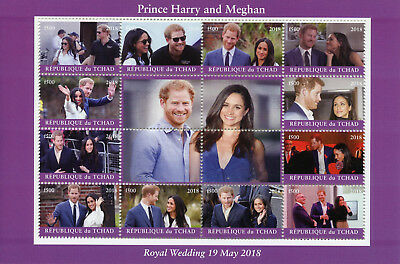 Chad 2018 CTO Prince Harry & Meghan Royal Wedding 12v M/S I Royalty Stamps