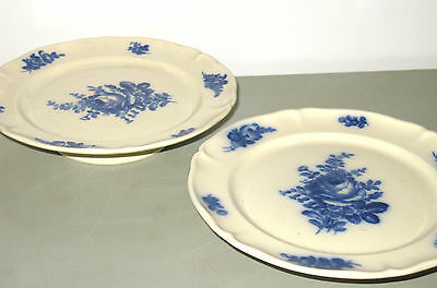 **2 Villeroy & Boch Rare Antique 1900  Mettlach Blue Rose Stands Exc. Cond.