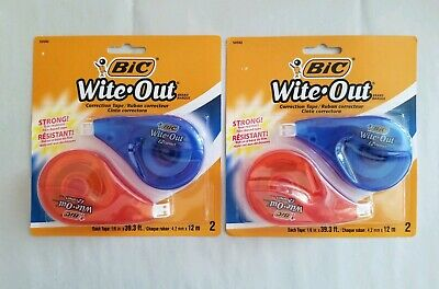 Lot Of 2 Packs Bic Wite Out Correction Tape 2-count White Out Correction Tape
