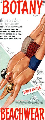 Botany Swim Trunks BEACHWEAR 3 Men Diving Into The Pool 1949 MAGAZINE AD