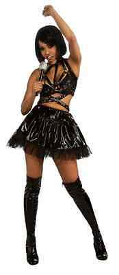 Rihanna Black Vinyl Concert Outfit Pop Star Fancy Dress Halloween Adult Costume
