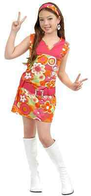 San Francisco Girl 60's Hippie Flower Power Fancy Dress Halloween Child - Flower Power Girl Costume