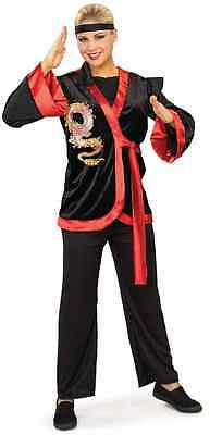 Red Dragon Lady Ninja Warrior Black Kimono Fancy Dress Halloween Adult Costume