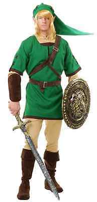 Elf Warrior Link Zelda Fantasy Green Fancy Dress Halloween Deluxe Adult Costume