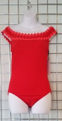 Karla Colletto Red New Wave Off The Shoulder Swimsuit