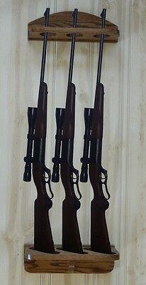 Gun Wall Display - Gun Rack 3-gun vertical Wall Display solid oak