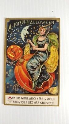 Antique Vintage Halloween Postcard Beautiful Witch 1911 Moon