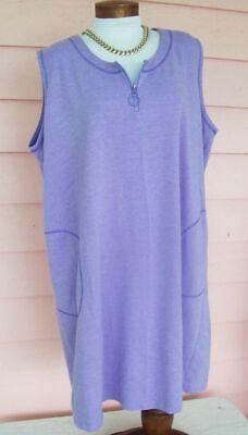 SOFT COOL Dress Cover-Up Sz 3X PURPLE Zip Neckline 2 Roomy Pockets - Cool Dress Ups