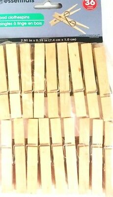 Cloth Pins (New 36 Pc Wood Clothespins Wooden Laundry Clothes Pins Large Springs Regular)