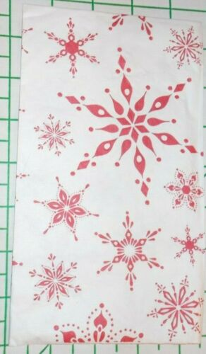 """Two Decorative Hostess Napkins for Decoupage Red """"Snowflake Embossed"""""""