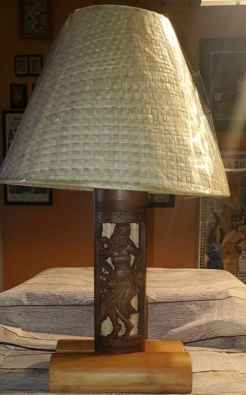 Hawaiian Hula Girl Wooden Lamp &  Weaved Lampshade NEW