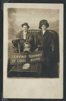 Mo St  Louis Rppc 1910S Studio Photo Leaving St  Louis Couple By Mccallister