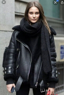 Acne Velocite Shearling Biker  Coat Black 32 (xs)