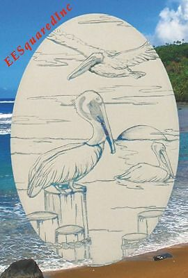Pelicans Static Cling Window Decal OVAL 21x33 Ocean Decor for Glass Doors