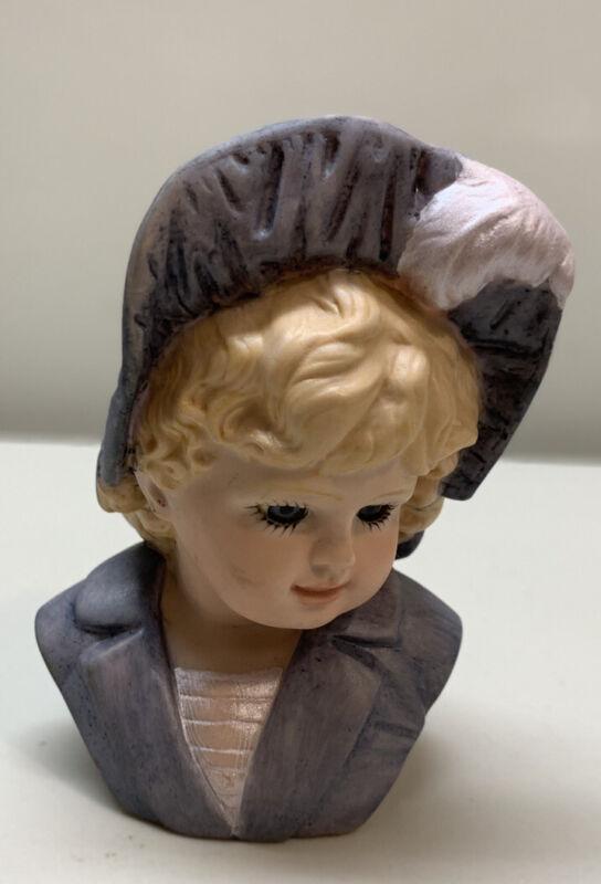 Vintage Girl Lady Head  Blonde Hair Vase Planter