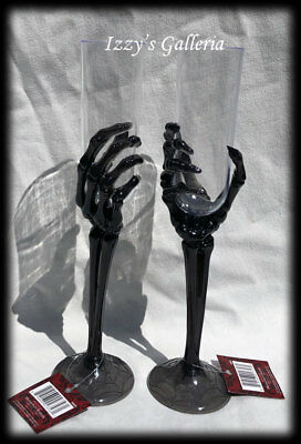 Halloween Creepy Skeleton Hands Champagne Flutes Black Clear Glasses Set of 2